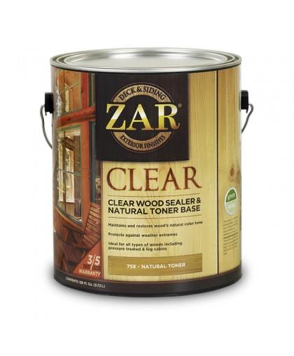 ZAR CLEAR WOOD SEALER & NATURAL TONER BASE / ЗАР Клиа Вуд Сейлер Натурал Тон база Бесцветное палубное масло по дереву (новая формула)